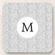 Personalized Monogram Gray Zebra Stripes pattern Beverage Coaster