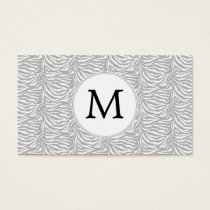 Personalized Monogram Gray Zebra Stripes pattern Business Card