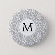 Personalized Monogram Gray Zebra Stripes pattern Button