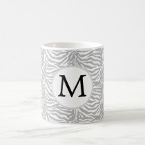 Personalized Monogram Gray Zebra Stripes pattern Coffee Mug