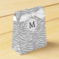 Personalized Monogram Gray Zebra Stripes pattern Favor Box