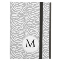 Personalized Monogram Gray Zebra Stripes pattern iPad Air Cover