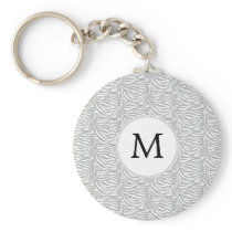 Personalized Monogram Gray Zebra Stripes pattern Keychain