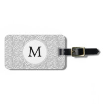 Personalized Monogram Gray Zebra Stripes pattern Luggage Tag