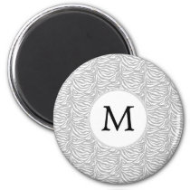 Personalized Monogram Gray Zebra Stripes pattern Magnet