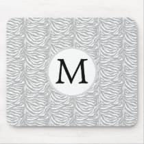 Personalized Monogram Gray Zebra Stripes pattern Mouse Pad