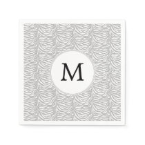 Personalized Monogram Gray Zebra Stripes pattern Napkin