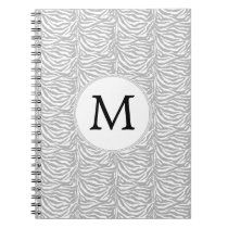 Personalized Monogram Gray Zebra Stripes pattern Notebook