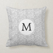 Personalized Monogram Gray Zebra Stripes pattern Throw Pillow