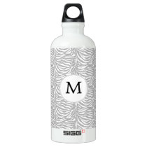 Personalized Monogram Gray Zebra Stripes pattern Water Bottle