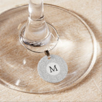 Personalized Monogram Gray Zebra Stripes pattern Wine Glass Charm
