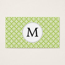 Personalized Monogram green double rings pattern Business Card