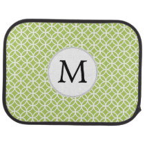 Personalized Monogram Green Double Rings pattern Car Floor Mat