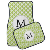 Personalized Monogram Green Double Rings pattern Car Mat
