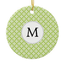 Personalized Monogram green double rings pattern Ceramic Ornament