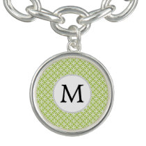 Personalized Monogram green double rings pattern Charm Bracelet