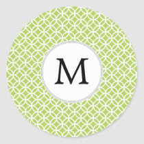 Personalized Monogram green double rings pattern Classic Round Sticker