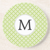 Personalized Monogram green double rings pattern Coaster