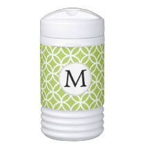 Personalized Monogram Green Double Rings pattern Cooler
