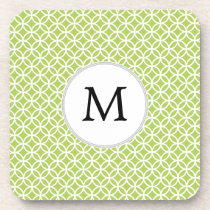 Personalized Monogram green double rings pattern Drink Coaster