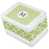 Personalized Monogram Green Double Rings pattern Drink Cooler