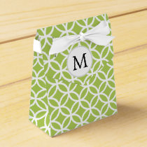 Personalized Monogram green double rings pattern Favor Box