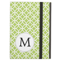 Personalized Monogram Green Double Rings pattern iPad Air Cover