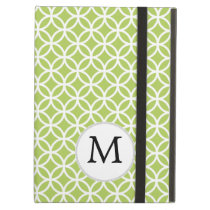 Personalized Monogram green double rings pattern iPad Air Covers
