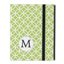 Personalized Monogram Green Double Rings pattern iPad Case