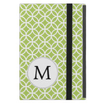 Personalized Monogram Green Double Rings pattern iPad Mini Cases