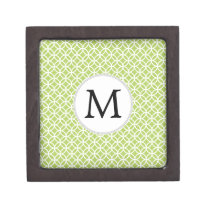 Personalized Monogram green double rings pattern Jewelry Box