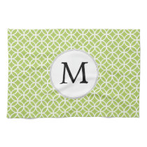 Personalized Monogram green double rings pattern Kitchen Towel