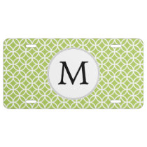 Personalized Monogram Green Double Rings pattern License Plate