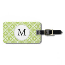 Personalized Monogram green double rings pattern Luggage Tag