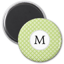 Personalized Monogram green double rings pattern Magnet