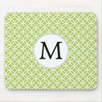 Personalized Monogram green double rings pattern Mouse Pad