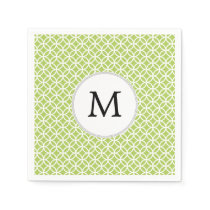 Personalized Monogram green double rings pattern Napkin