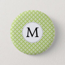 Personalized Monogram green double rings pattern Pinback Button
