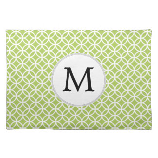 Personalized Monogram green double rings pattern Placemat