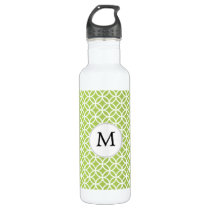Personalized Monogram green double rings pattern Stainless Steel Water Bottle
