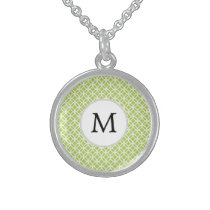 Personalized Monogram green double rings pattern Sterling Silver Necklace