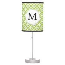 Personalized Monogram green double rings pattern Table Lamp