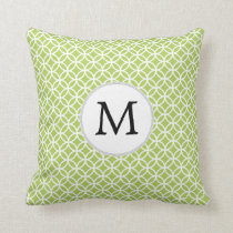 Personalized Monogram green double rings pattern Throw Pillow