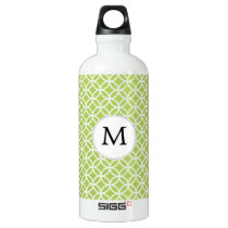 Personalized Monogram green double rings pattern Water Bottle