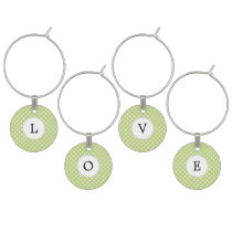 Personalized Monogram green double rings pattern Wine Charm