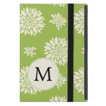 Personalized Monogram Green Floral pattern Cases For iPad Mini