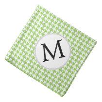 Personalized Monogram Green Houndstooth Pattern Bandana