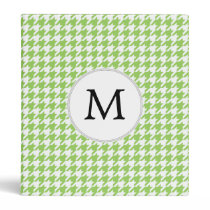 Personalized Monogram Green Houndstooth Pattern Binder