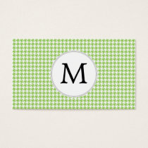 Personalized Monogram Green Houndstooth Pattern Business Card