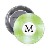 Personalized Monogram Green Houndstooth Pattern Button
